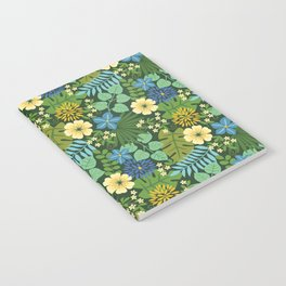 Tropical Blue and Yellow Floral Notebook