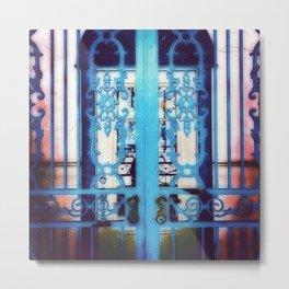 Ornate Iron Gate Blue Metal Print