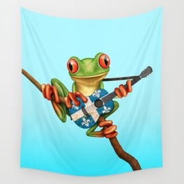 Tree Frog Playing Acoustic Guitar with Flag of Quebec Wall Tapestry