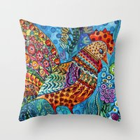 cock Throw Pillows featuring Cock by oxana zaika
