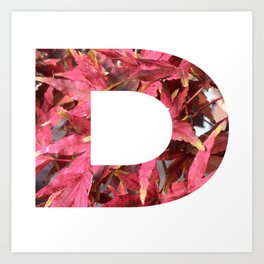 """""""D"""" Initial Leaves Art Print"""