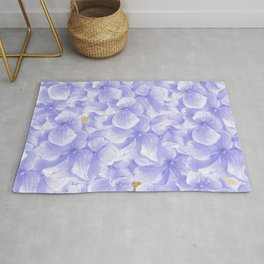 Elegant lavender white faux gold watercolor hydrangea flowers Rug