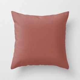 Aged Wine Dark Red Clay Brown Solid Color Pairs To Sherwin Williams Bold Brick SW 6327 Throw Pillow