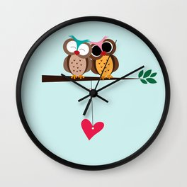 Love owls on the branch, blue background Wall Clock