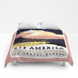 See America Montana travel ad Comforters
