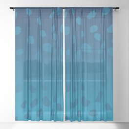 Ombre Blue Spots Hawaii Mermaid Sheer Curtain