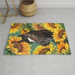 Horse with Sunflowers Rug