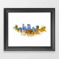 Minneapolis Skyline  --  double exposure with treetops Framed Art Print