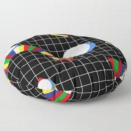 Memphis Grid & Rainbows Floor Pillow