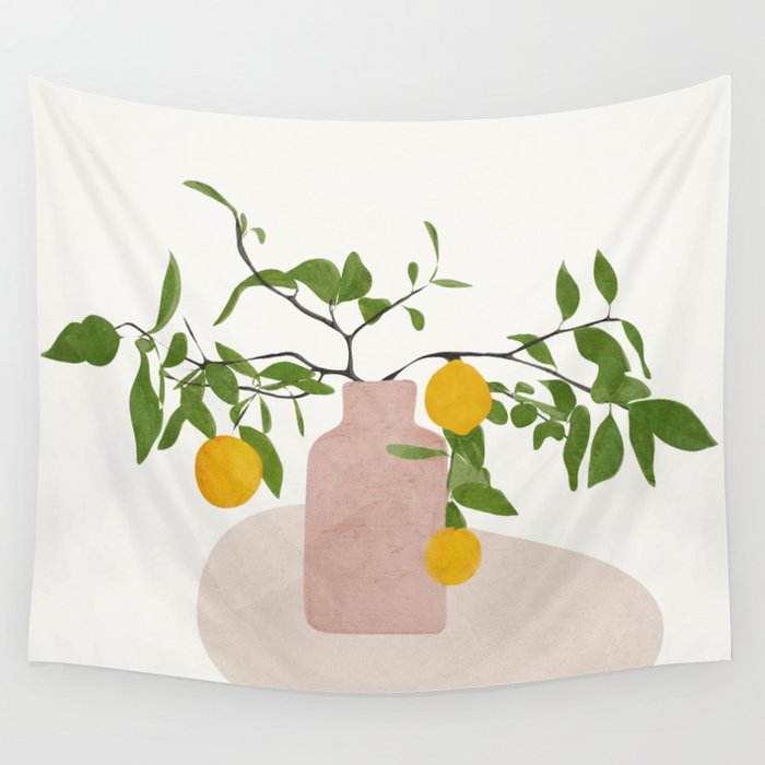 Lemon Branches Wall Tapestry