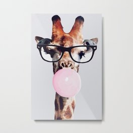 Giraffe wearing glasses blowing bubble gum Metal Print