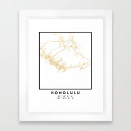 HONOLULU HAWAII CITY STREET MAP ART Framed Art Print