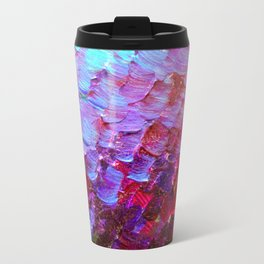 MERMAID SCALES - Colorful Ombre Abstract Acrylic Impasto Painting Violet Purple Plum Ocean Waves Art Travel Mug