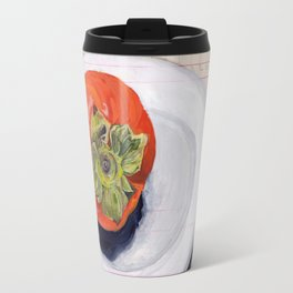 Persimmon on a Plate in Gouache Travel Mug