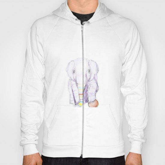 Striped Elephant Illustration Hoody