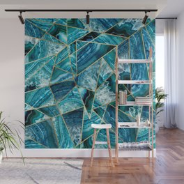 Turquoise Navy Blue Agate Black Gold Geometric Triangles Wall Mural