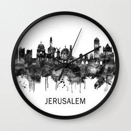 Jerusalem Israel Skyline BW Wall Clock