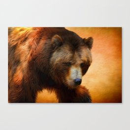 Grizzly Bear Painted Canvas Print