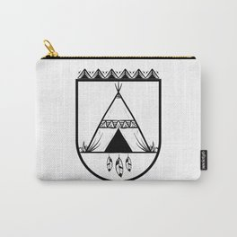 Black And White Shadow Feather Hut Carry-All Pouch
