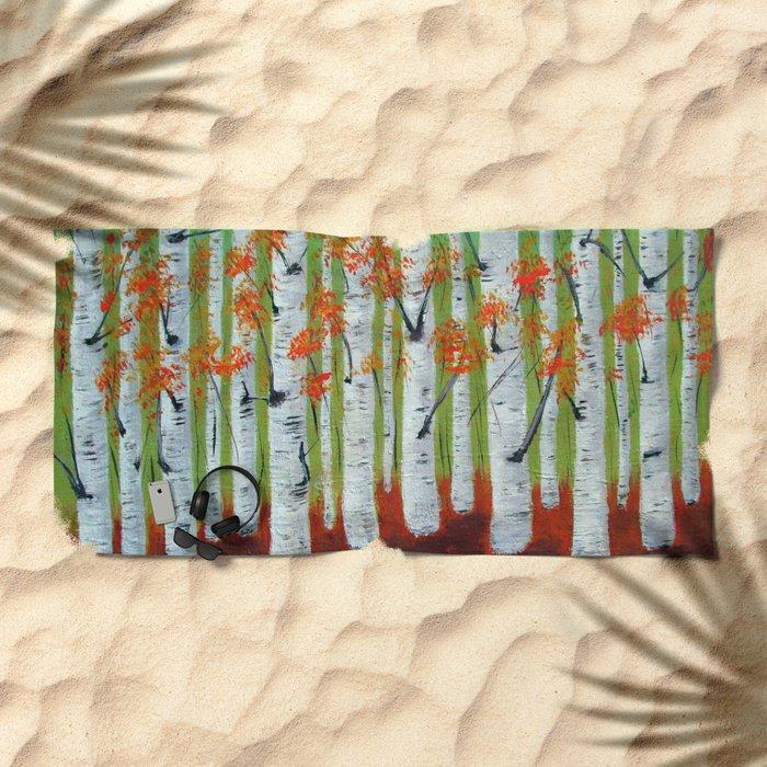 Atumn Birch trees - 5 Beach Towel