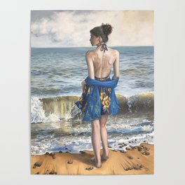 Lady on the Beach Poster
