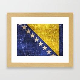 Vintage Aged and Scratched Bosnian Flag Framed Art Print