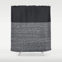 georgiana paraschiv Shower Curtains featuring Riverside (Black) by Jacqueline Maldonado
