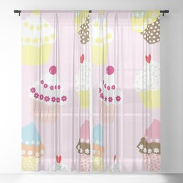 I Love Cupcakes Sheer Curtain