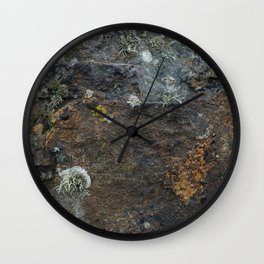 Natural Coastal Rock Texture with Lichen and Moss Wall Clock