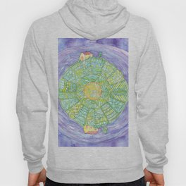 Drawing of Abstract round world with houses Hoody