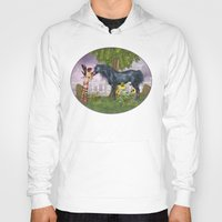 the last unicorn Hoodies featuring The Last Black Unicorn by Simone Gatterwe