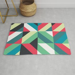 Colorful Shapes Texture, Retro Style, Rug
