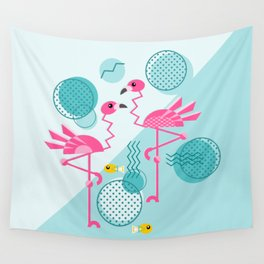 1980's Memphis Style Pink Flamingos Wall Tapestry