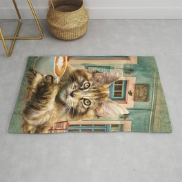 Maine Coon Cat With Coffee Rug