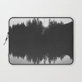 Wooded Lake Reflection Black and White Laptop Sleeve