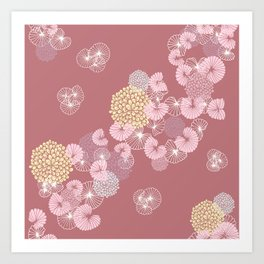 Floral Seamless Pattern on a Rusty Pink Background Art Print