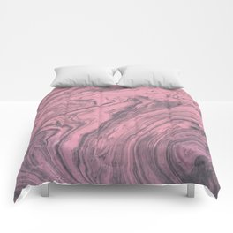 Pink Marbled Texture Comforters