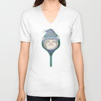 yetiland V-neck T-shirts featuring Cat in the zip by Tummeow