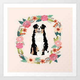 australian shepherd tricolored floral wreath dog gifts pet portraits Art Print