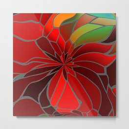 Abstract Poinsettia Metal Print