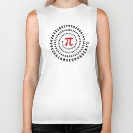Pi, π, spiral science mathematics math irrational number Biker Tank