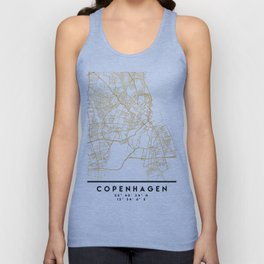 COPENHAGEN DENMARK CITY STREET MAP ART Unisex Tank Top