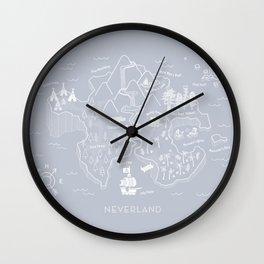 Neverland Map - Gray Wall Clock