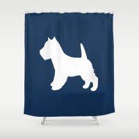 westie Shower Curtains featuring Westie (Navy/White) by Erin Rea