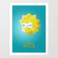 simpsons Art Prints featuring SIMPSONS ROCKS by inkgraphics