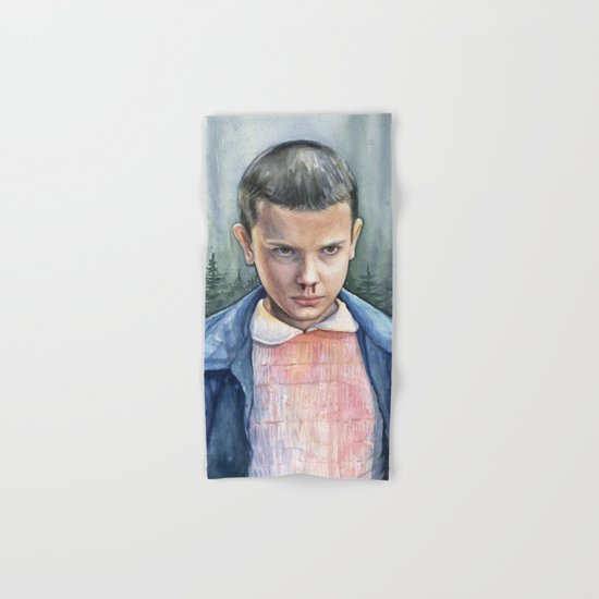 Stranger Things Eleven Watercolor Portrait Art Hand & Bath Towel