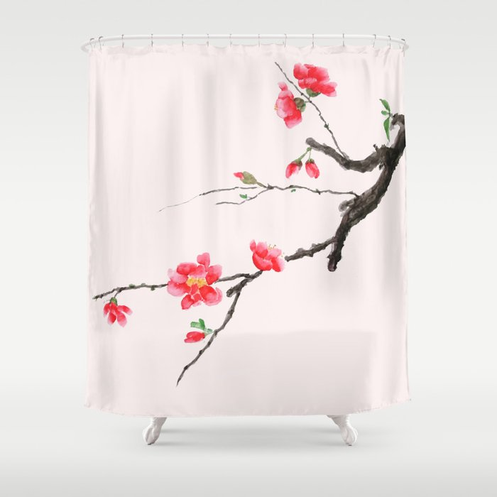 Red Japan Begonia Shower Curtain