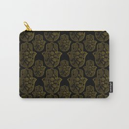 Gold Paisley Hamsa Hand pattern Carry-All Pouch