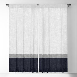 Navy Blue and Grey Simple Stripe with Crosshatch Burlap Print Pattern Blackout Curtain