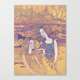 Two girls on the yellow ornamental background Canvas Print